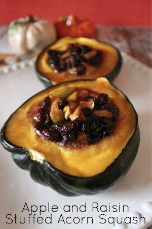 Simple and inexpensive recipe for Apple and Raisin Stuffed Acorn Squash. #recipes