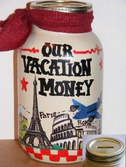 Design Your Own Travel Fund Jar As Vacation Money Jars Banks And Personalized in USA With Name or Pictures