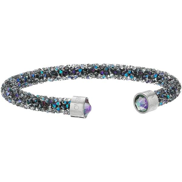 Swarovski Crystaldust Cuff Bracelet (Mulit Purple) Bracelet (215 BRL) ❤ liked on Polyvore featuring jewelry, bracelets, druzy jewelry, purple jewellery, cuff bangle bracelet, swarovski jewelry and cuff bangle