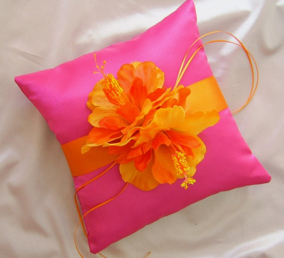 Orange and Hot Pink Hibiscus Wedding Ring Bearer by All4Brides, $40.00