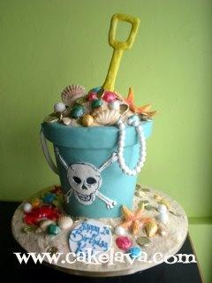 another amazing summer beach cake by cakelava.....Pirate Booty....just .·:*ßeÁ©]-[Ý`*:·.