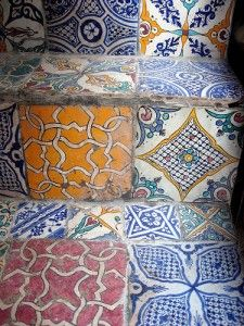 Moroccan tile stairs.