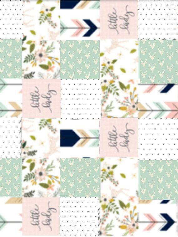 Handmade Little Lady Patchwork quilt, Crib or Toddler Blanket, Baby Shower, Baby  Girl, Pink, Floral, Deer, Woodland, Cotton or Minky Backing