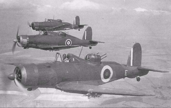 """Blackburn Roc was a """"fighter"""" development of the Skua dive bomber using the same turret fighter concept as the Boulton Paul Defiant in that its sole armament was four .303 in (7.7 mm) Browning machine guns in a powered dorsal turret. Saw limited combat as fighter. Used as dive bomber."""