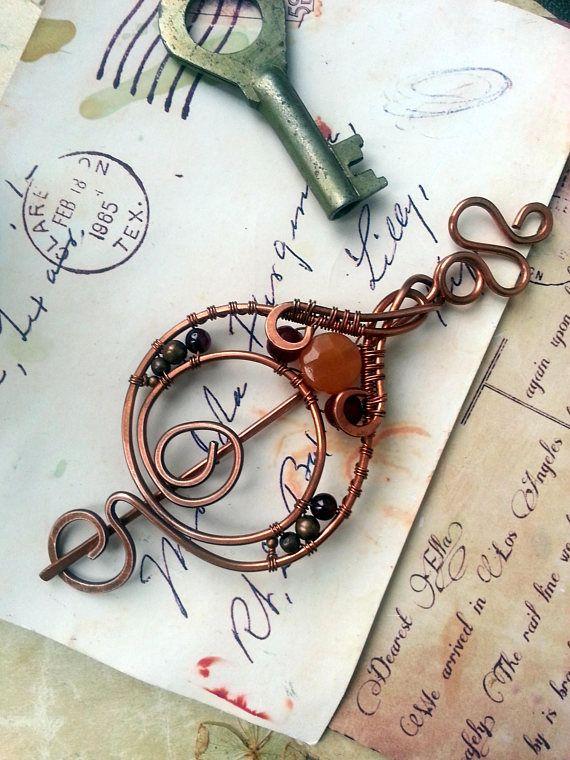 Wire Wrapped Copper Shawl Pin Copper Wire Shawl Pin Scarf