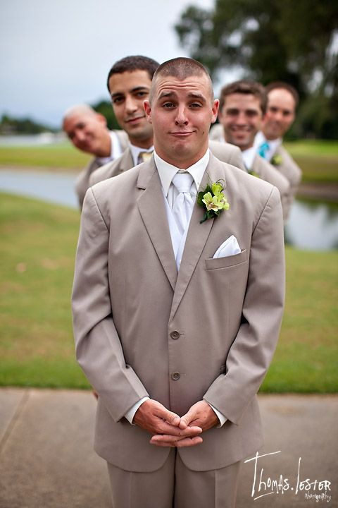 fun groomsmen photo - wedding  (shame his jacket is too big)