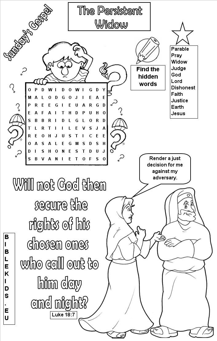 Parable Of The Persistent Widow Coloring Pages