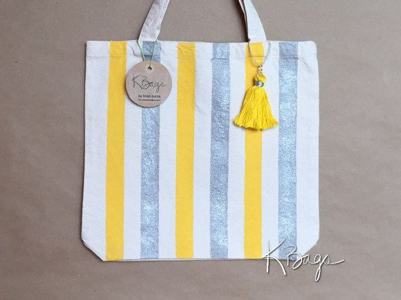 Hand-Painted Canvas Tote Bag  Yellow & Silver by KristiBags