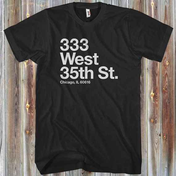"""Our """"Chicago Baseball Stadium"""" South Side tee for men!  Our Chicago baseball, U.S. Cellular Field (a.k.a The Cell) address tee! Show 'em where your heart is on game day. It's available in your choice of several colors."""