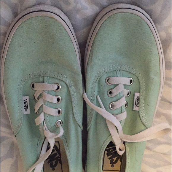 Teal blue Vans shoes Fits a size 7. Teal blue vans very lightly worn one or two times Vans Shoes Sneakers
