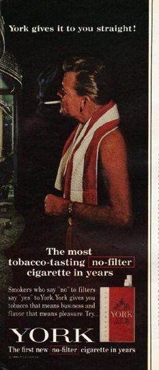 """1965 YORK CIGARETTES vintage magazine advertisement """"gives it to you straight"""" ~ York gives it to you straight! - The most tobacco-tasting no filter cigarette in years - Smokers who say """"no"""" to filters say """"yes"""" to York. York gives you tobacco that means business and flavor that means pleasure. ~"""