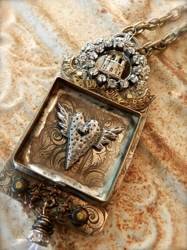 Rhinestoned Castle Heartbox Necklace. $195.00, via Etsy.  From one of my favorite mixed media jewelry artists -- Diana Frey!