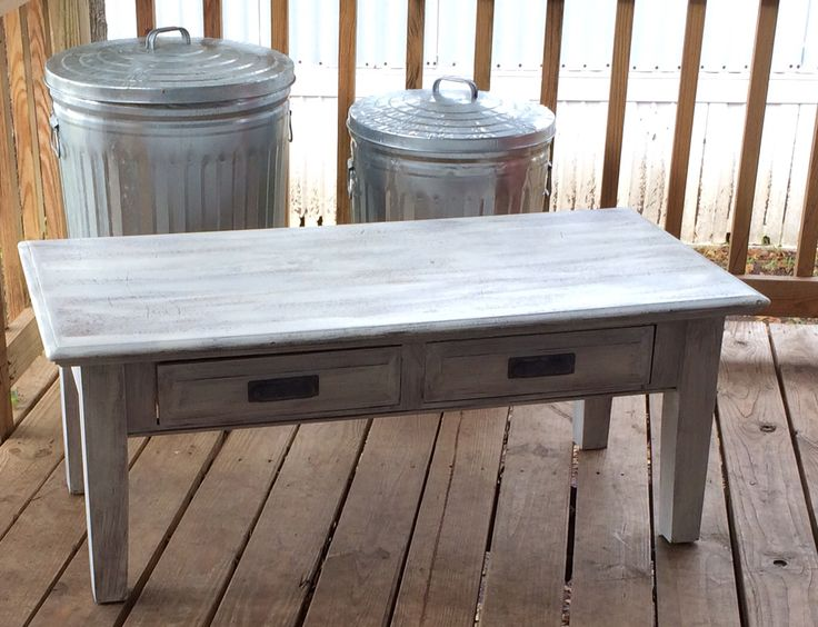 After- rustic white coffee table with galvanized metal drawer handles