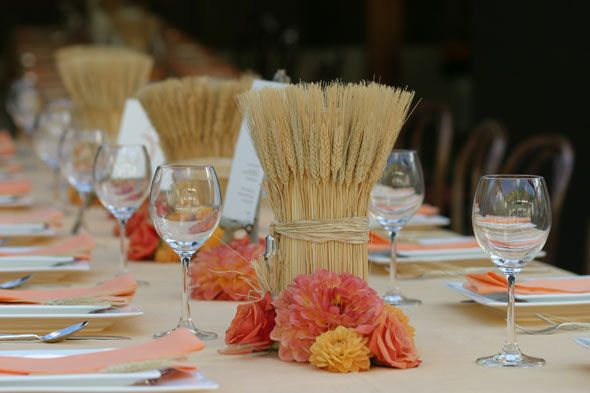 Perfect for a fall wedding—wheat centerpieces (AisleDash)  I DON'T need these for a wedding, but they are so pretty to a S W Kansas gal