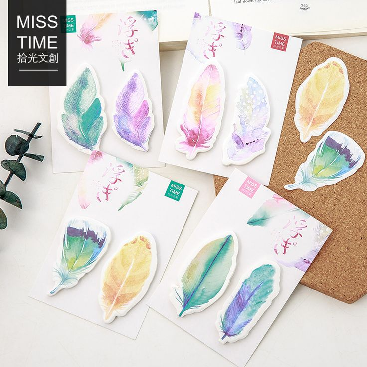 30 Sheets/pack Colorful Feathers Kawaii Bookmarks Stickers Post it  Memo Pad Sticky Notes Cute Stationery-in Memo Pads from Office & School Supplies on Aliexpress.com | Alibaba Group