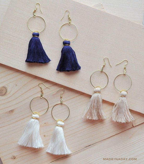 Easy DIY Tassel Hoop Earrings Anthro Hack madeinaday.com