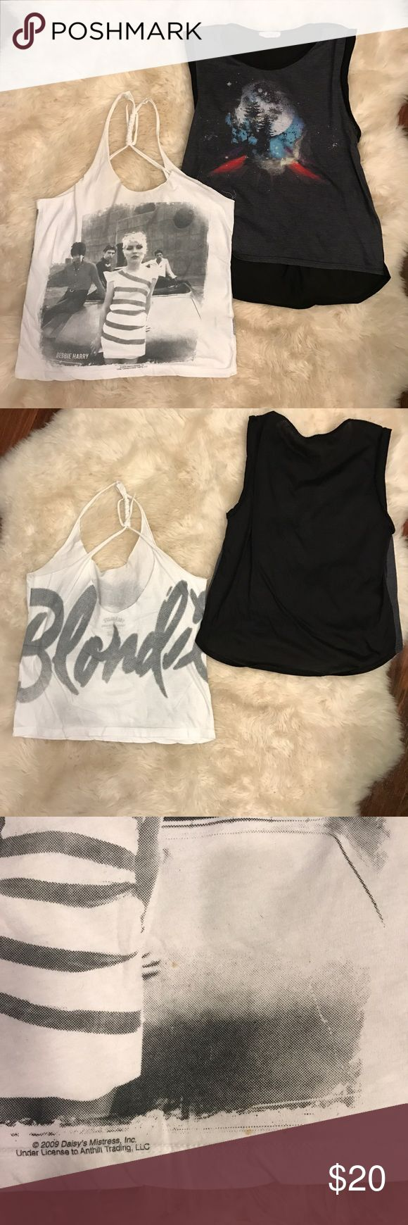 Tank top & muscle tee / blondie band tee Two tanks bundle / tank has spots shown in last picture Urban Outfitters Tops Tank Tops
