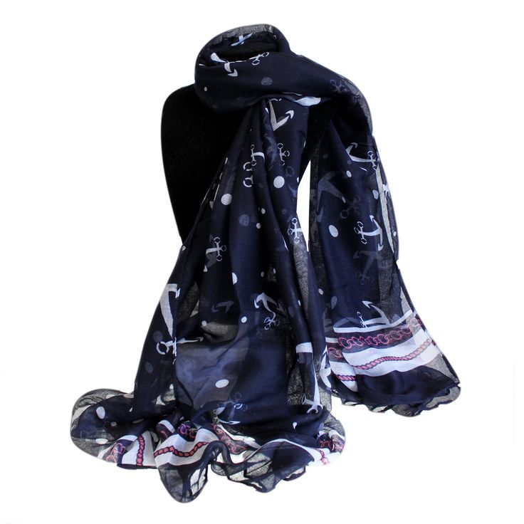 Wholesale Scarves Ancors And Dots - Extra Large Scarves #Scarves_Wholesale #Wholesale_Scarves #Colours_Scarves #Scarves_Blue_Nautical