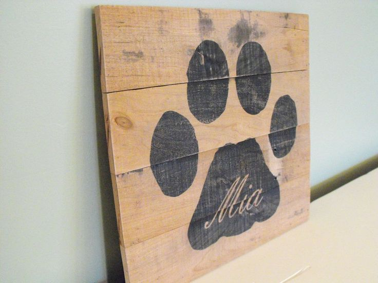 Personalized dog paw custom pet name reclaimed pallet wood wooden sign rustic farmhouse decor wall art outdoors cabin country kitchen by HewnWoods on Etsy