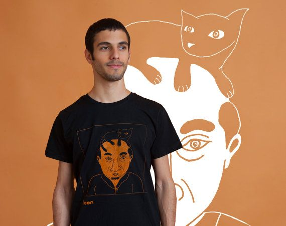 A man with a cat on his head Men's t-Shirt Orange by MoonTshirt