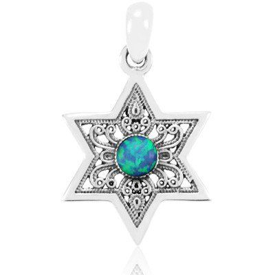 925 sterling silver Diameter:2 cm / 1 Simple and elegant, small sterling silver pendant shaped like the Star of David, with an opal stone in the center. This pendant is a perfect gift for a Bat M