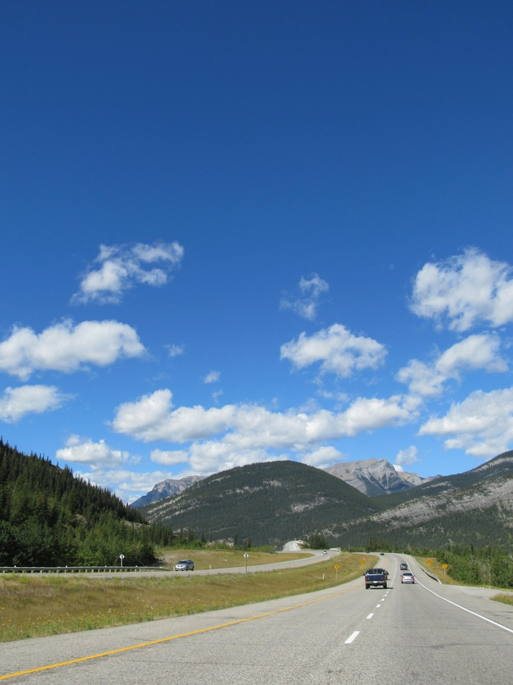Driving into the Rockies in Alberta