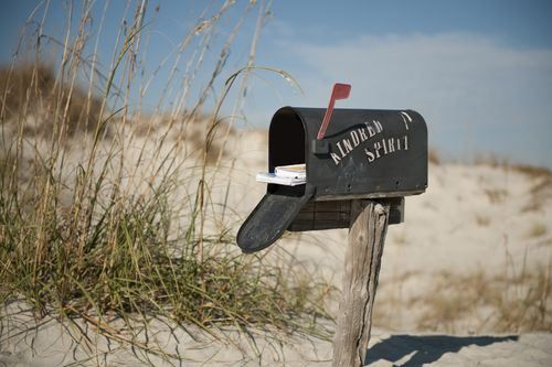 Secret mailbox on Bird Island,NC. Only accessible by boat, bike or foot. Anyone up for an adventure? I have a few things I need to put in the mail.