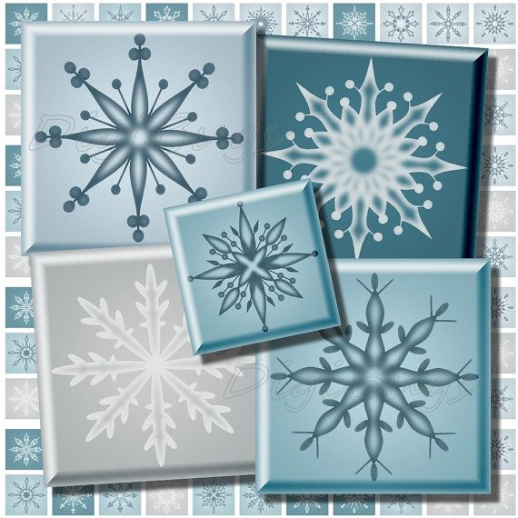 12 mm & 15 mm Squares, Printable Snowflakes, Digital Collage Sheet, Christmas Jewelry Supply, Blue Snowflake Vectors, Square Jewelry Images