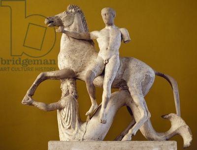 Dioscuro e cavallo supportata da un marmo Tritone, pario, decorazione scultorea dalla facciata occidentale del tempio distretto di Marasà, Locri, Calabria, Italia, la civiltà greca, BC 5a-4e secolo