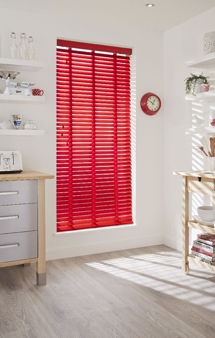 Bring colour into your kitchen with bright coloured wooden blinds, pair with…