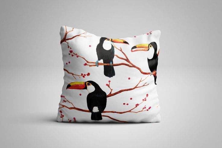 Toucan Cushion. 12 x 12 inch Cushion by NJsBoutiqueCo on Etsy