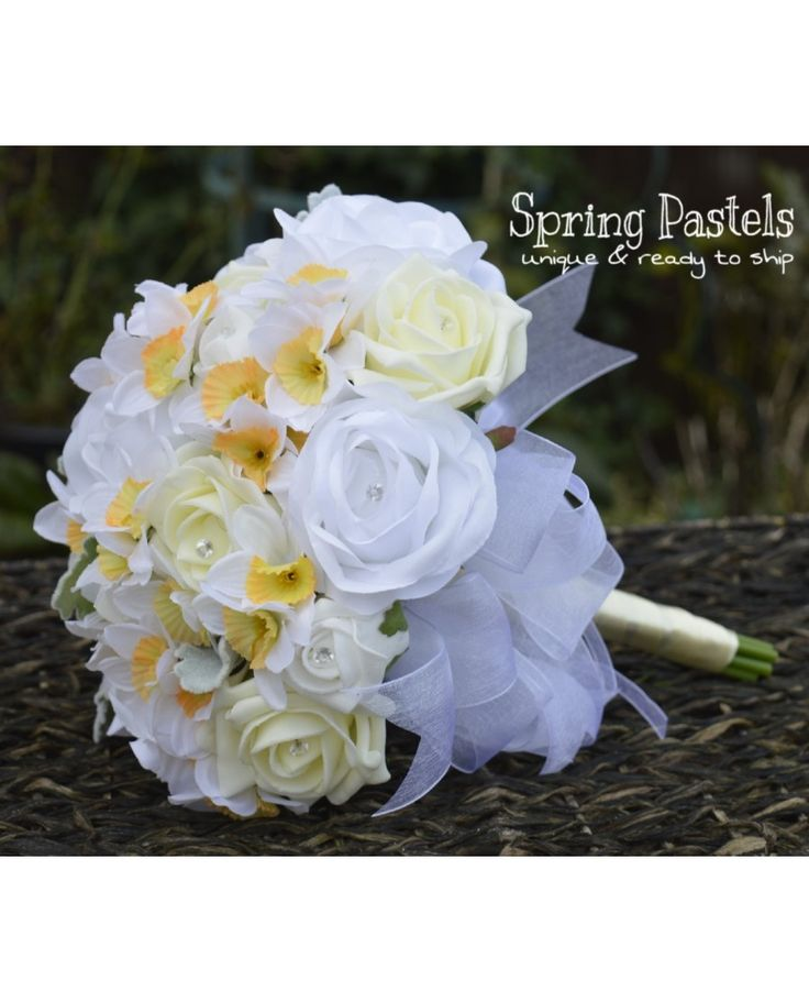 Spring Pastels - Unique, Ready to Ship Bouquet of White and Lemon Roses with Narcissus and Diamante with 2 matching corsages