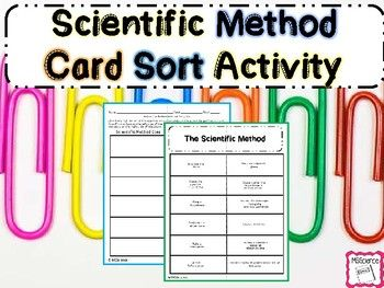Scientific Method Sorting Activity This is a 2 page worksheet for the scientific method. Students cut out all of the squares and place the steps of the scientific method in order from first to last. Students then place the correct description beside each step.