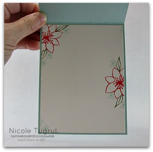 inside view of a handmade card ... off-the-edges stamped flowers leave plenty of room to write a short message ..