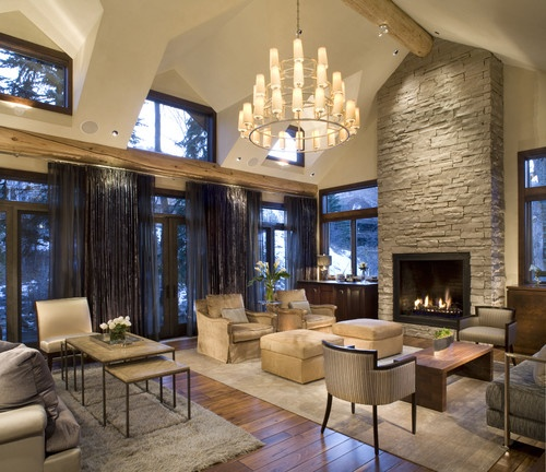 Love the fireplace and windows