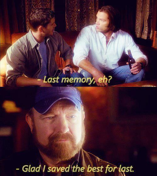 GAH BOBBY. I cried so hard. This memory is so simple it's just two idjits fighting and watching a movie. Its so awesome because it proves that there are moments when Sam and Dean are normal people and aren't talking about killing things they're talking about licorice #supernatural