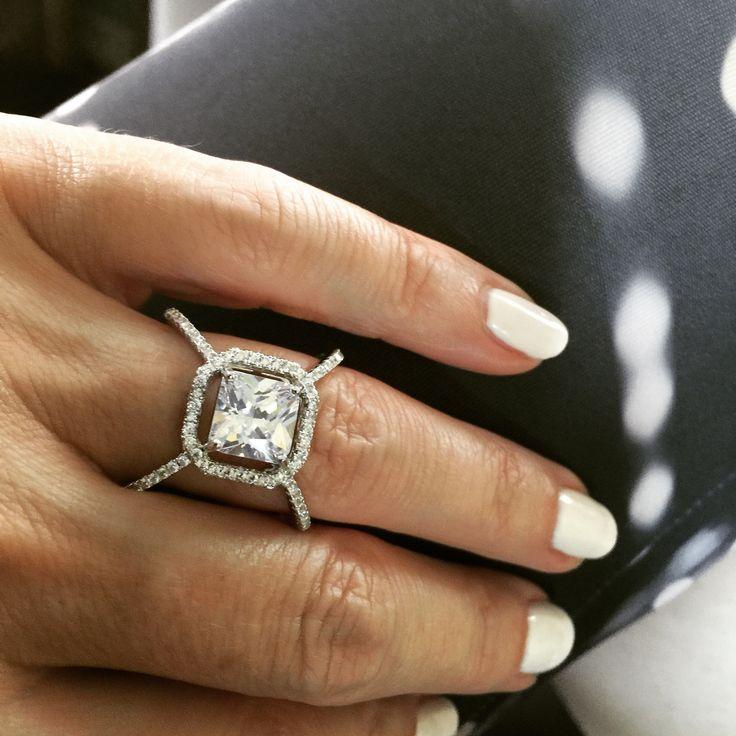 A Perfect 3.6CT Princess Cut Russian Lab Diamond Ring