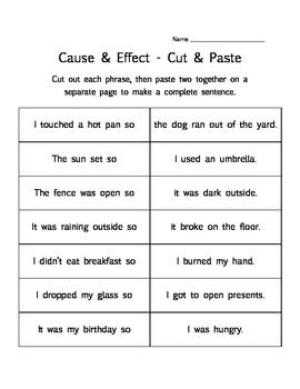 Cause and effect worksheets for middle school pdf