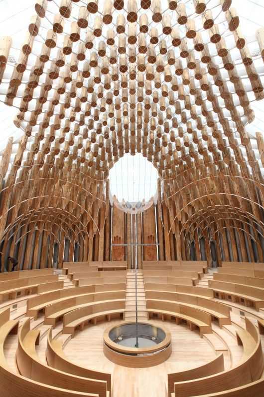 In South Korea, a Chapel Under 834 Suspended Tree Trunks