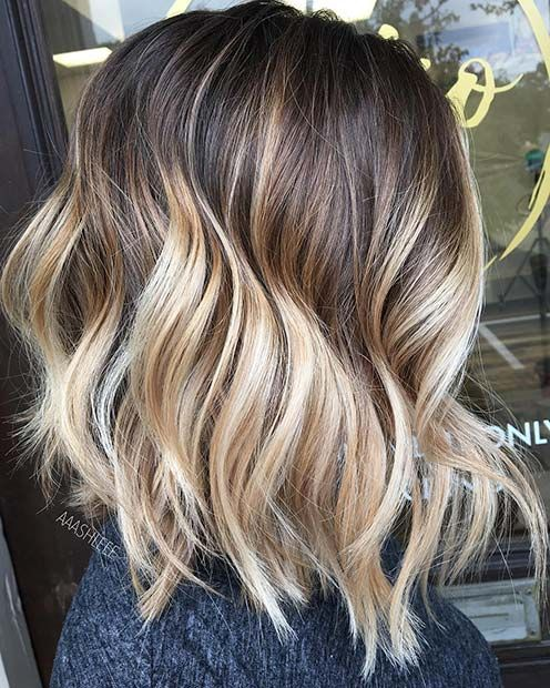 Blonde Balayage Lob Hairstyle for Brunettes