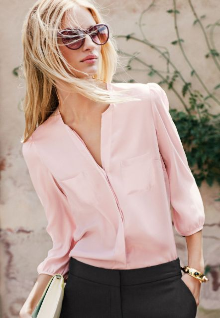 To My Stylist: I'm always on the hunt for long or 3/4 length sleep blouses that I can wear to work. Love this color and the soft looking material.