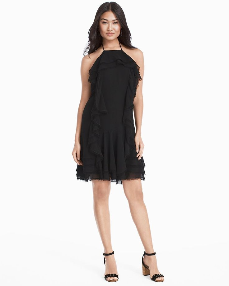 """Get evening-ready with a high-drama, figure-flattering dress. The ruffle detail is chic and overtly feminine…all you need are Studded Suede Chunky Cork Heels, like ours shown here.  Black ruffled soft dress  Halter tie Hidden back zip with hook-and-eye Fully lined Approx. 35 1/2"""" from shoulder; hits 3"""" above the knee Polyester. Machine wash cold.  Imported Model is 5'10 1/2"""" and wearing S or size 4"""