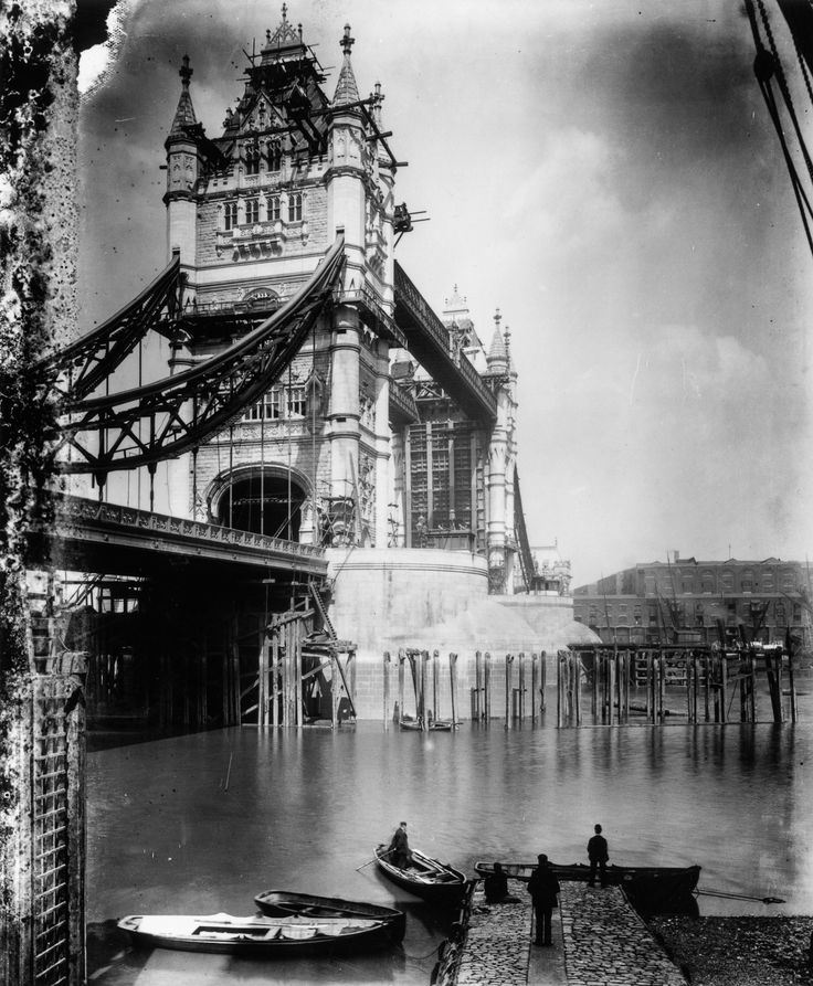 1894 The upper level of Tower Bridge with the bascules up.  Constructing London's Tower Bridge required intricate innovation