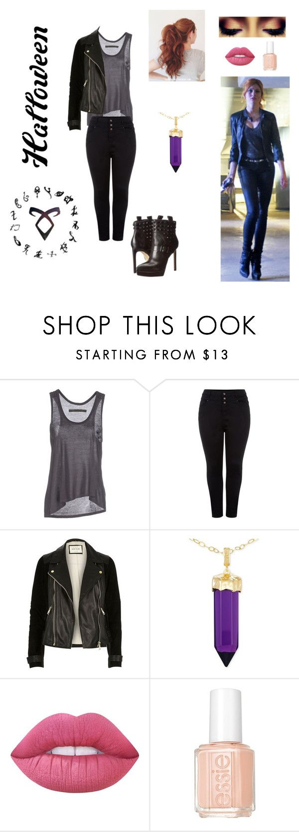 """""""DIY Halloween costume : Being a Shadowhunters like Clary Fray"""" by notamundane ❤ liked on Polyvore featuring Enza Costa, New Look, River Island, Simone I. Smith, Lime Crime and Essie"""
