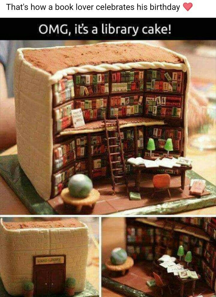 OMG it's a cake library!! How freaking cute is this?! It'd be a shame to eat such food art.