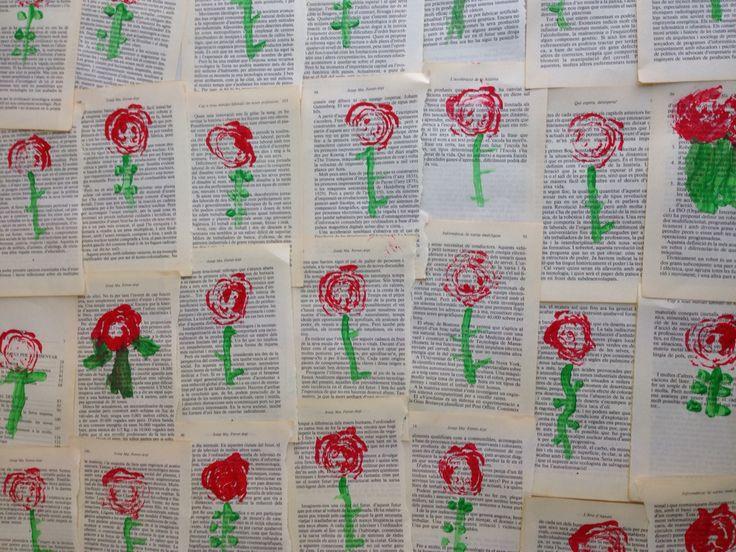 Sant Jordi. Estampació amb carxofes sobre pàgines de llibre.