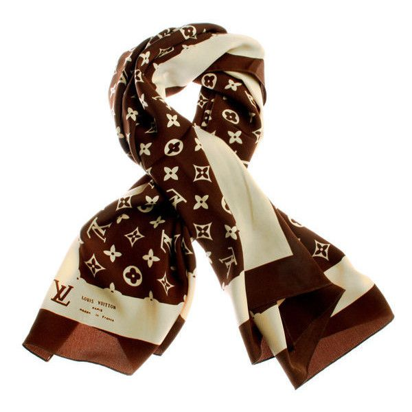 Louis Vuitton - Vintage Louis Vuitton Logo Scarf  liked on Polyvore