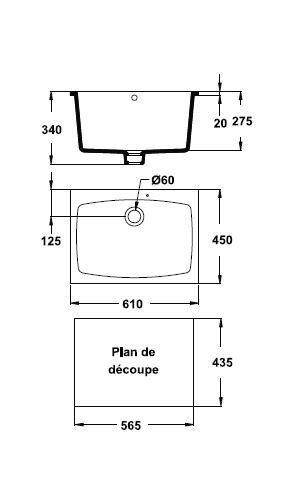 Cuve Laboratoire 61 x 45 Blanc - PORCHER Réf.P297001