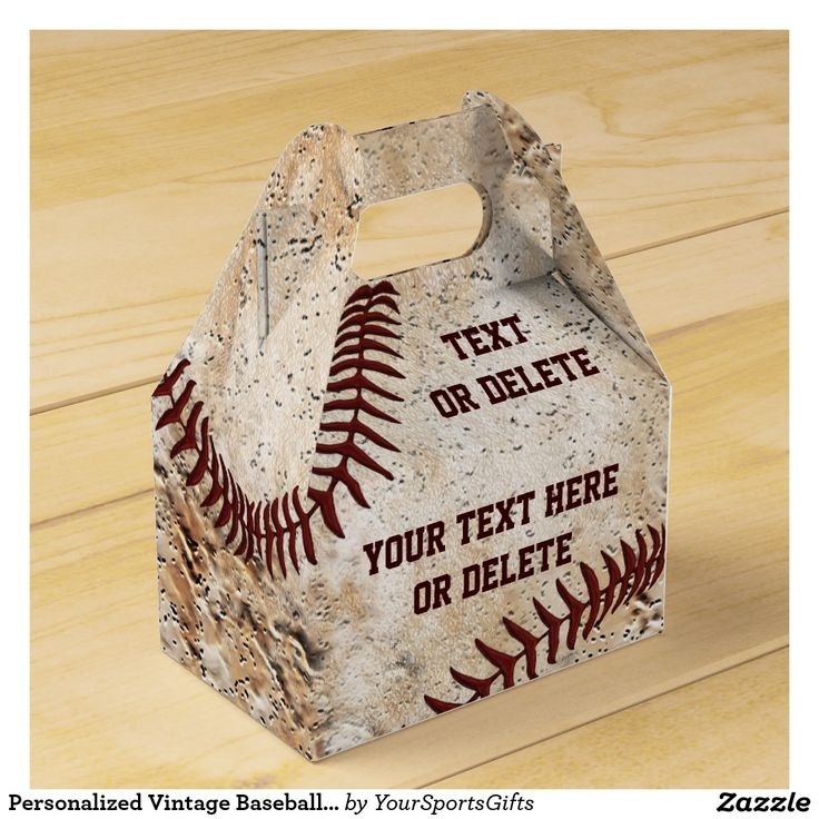 Personalized Vintage Baseball Party Favor Bags Gable Boxes for your baseball goodies. CLICK: http://www.zazzle.com/personalized_vintage_baseball_party_favors_boxes-256993840672366319?rf=238012603407381242 Two text boxes to type in YOUR TEXT. Great vintage baseball party supplies and are baseball party decorations in themselves. CALL Rod or Linda to create matching vintage baseball party goodies, gifts. Baseball themed party for kids to adults. 239-949-9090…
