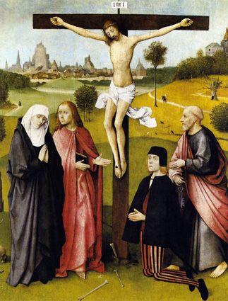 Crucificação com um Doador (1480-85). Hieronymus Bosh (c. 1450-1516). Óleo sobre madeira de carvalho (74,7 x 61 cm). Musées Royaux des Beaux-Arts, Brussels.